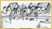 Residential Drawings Framed Prints - Southwest Home Rendering Framed Print by Eric  Schiabor