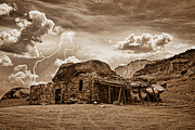 Sepia White Nature Landscapes Posters - Southwest Indian Rock House and Lightning Striking Poster by James Bo Insogna