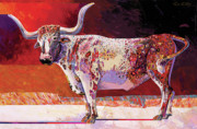 Abstracted Mixed Media Prints - Southwest Longhorn Print by Bob Coonts