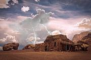 Southwest Mixed Media Posters - Southwest Navajo Rock House and Lightning Strikes Poster by James Bo Insogna