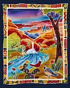 Batik Painting Posters - Southwest Waterfall Poster by Harriet Peck Taylor