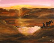 Mexican Horse Paintings - Southwestern Desert Sunset by Aleta Parks