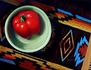 Red Pepper Pastels - Southwestern Still Life by Karen  Howard