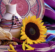 Indian Vase Posters - Southwestern Still Life with Sunflower Poster by VJ Lair