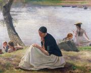 Contemplative Painting Prints - Souvenir Print by Emile Friant