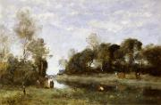 Corot Framed Prints - Souvenir of the Bresle at Incheville  Framed Print by Jean Baptiste Camille Corot