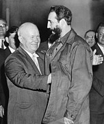 Beards Prints - Soviet Premier Nikita Khrushchev Greets Print by Everett