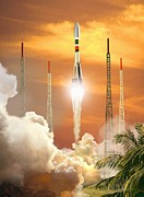 French Guiana Prints - Soyuz-2 Rocket Launch, Artwork Print by David Ducros