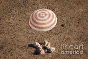 Nasa Space Program Framed Prints - Soyuz Spacecraft Landing In Kazakhstan Framed Print by NASA/Science Source