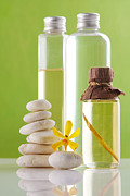 Pampering Posters - Spa oil bottles Poster by Atiketta Sangasaeng