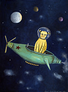 Spaceship Painting Posters - Space Bob Poster by Leah Saulnier The Painting Maniac