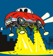 Automobile Artwork. Prints - Space car taking off Print by Aloysius Patrimonio