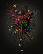 Clocks Digital Art Digital Art - Space Clock 1 by Bernie  Lee