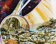 1975 Prints - Space Colony, 1975 Print by Granger