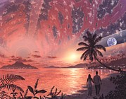Lovers Of The Sun Metal Prints - Space Colony Holiday Islands, Artwork Metal Print by Richard Bizley