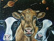 Planet System Paintings - Space Cows1 by Andrea  Darlington
