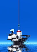 Sea Platform Prints - Space Elevator Station, Artwork Print by Victor Habbick Visions