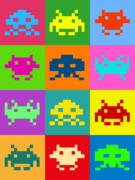 Retro Digital Art Posters - Space Invaders Squares Poster by Michael Tompsett