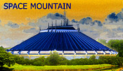 Roller Coaster Metal Prints - Space Mountain Metal Print by David Lee Thompson