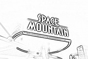 Photocopy Metal Prints - Space Mountain Sign Magic Kingdom Walt Disney World Prints Black and White Photocopy Metal Print by Shawn OBrien