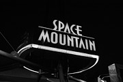 Magic Kingdom Photos - Space Mountain Sign Magic Kingdom Walt Disney World Prints Black and White by Shawn OBrien