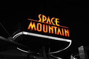 Disney Posters - Space Mountain Sign Magic Kingdom Walt Disney World Prints Color Splash Black and White  Poster by Shawn OBrien
