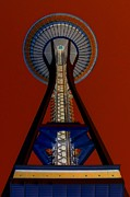 Iconic Architecture Posters - Space Needle Crimson Sky Poster by Randall Weidner