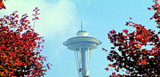 Space-scape Framed Prints - Space Needle in the Fall Framed Print by Nick Gustafson