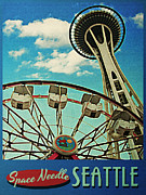 Needle Posters - Space Needle Seattle Poster by Vintage Poster Designs