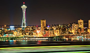 Seattle Waterfront Framed Prints - Space Needle Framed Print by Stephen Kacirek