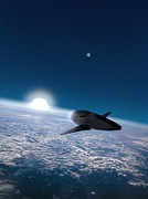 Spaceplane Metal Prints - Space Plane In Earth Orbit Metal Print by Richard Kail
