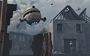 Flying Saucer Digital Art - Space Probes And Androids Survey An by Mark Stevenson