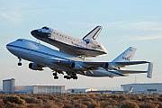 Airplane Prints - Space Shuttle Atalantis departs Edwards AFB July 1 2007 Print by Brian Lockett