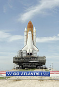 Rocket Boosters Prints - Space Shuttle Atlantis Approaches Print by Stocktrek Images