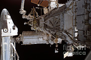 Atlantis Prints - Space Shuttle Atlantis Docked On The Iss Print by NASA / Science Source