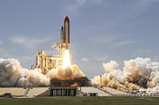 Atlantis Prints - Space Shuttle Atlantis Lifting Print by Stocktrek Images