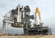 Rocket Boosters Prints - Space Shuttle Atlantis Sits On Launch Print by Stocktrek Images