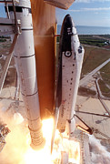 Rocket Boosters Prints - Space Shuttle Columbia As It Lifts Print by Stocktrek Images