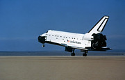 Airfield Prints - Space Shuttle Coming In For A Landing Print by Stocktrek Images
