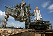 Rocket Boosters Prints - Space Shuttle Discovery Atop The Mobile Print by Stocktrek Images