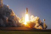 Rocket Boosters Prints - Space Shuttle Discovery Lifts Print by Stocktrek Images