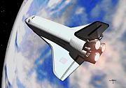 Spaceshuttle Framed Prints - Space Shuttle Discovery Framed Print by Steven Palmer