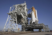 Rocket Boosters Prints - Space Shuttle Endeavour Atop A Mobile Print by Stocktrek Images