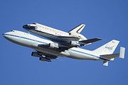 Endeavour Prints - Space Shuttle Endeavour Departing Edwards AFB September 21 2012 Print by Brian Lockett