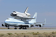Space Shuttle Endeavor Prints - Space Shuttle Endeavour Landing at Edwards AFB September 20 2012 Print by Brian Lockett