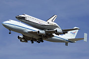 Space Shuttle Endeavour Prints - Space Shuttle Endeavour Lands at LAX September 21 2012 Print by Brian Lockett