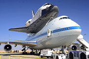 Space Shuttle Endeavour Prints - Space Shuttle Endeavour on Static Display at NASA Dryden FRC right front close September 20 2012 Print by Brian Lockett