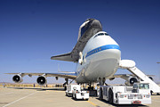 Space Shuttle Endeavour Prints - Space Shuttle Endeavour on Static Display at NASA Dryden FRC right front September 20 2012 Print by Brian Lockett