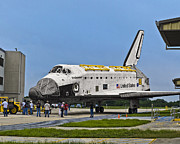 Ksc: K.s.c. Art - Space Shuttle Endeavour OV-105 with all engines removed in OPF parking lot  by Chris Haber