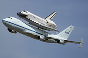 Space Shuttle Endeavour Prints - Space Shuttle Endeavour Over LAX September 21 2012 Print by Brian Lockett